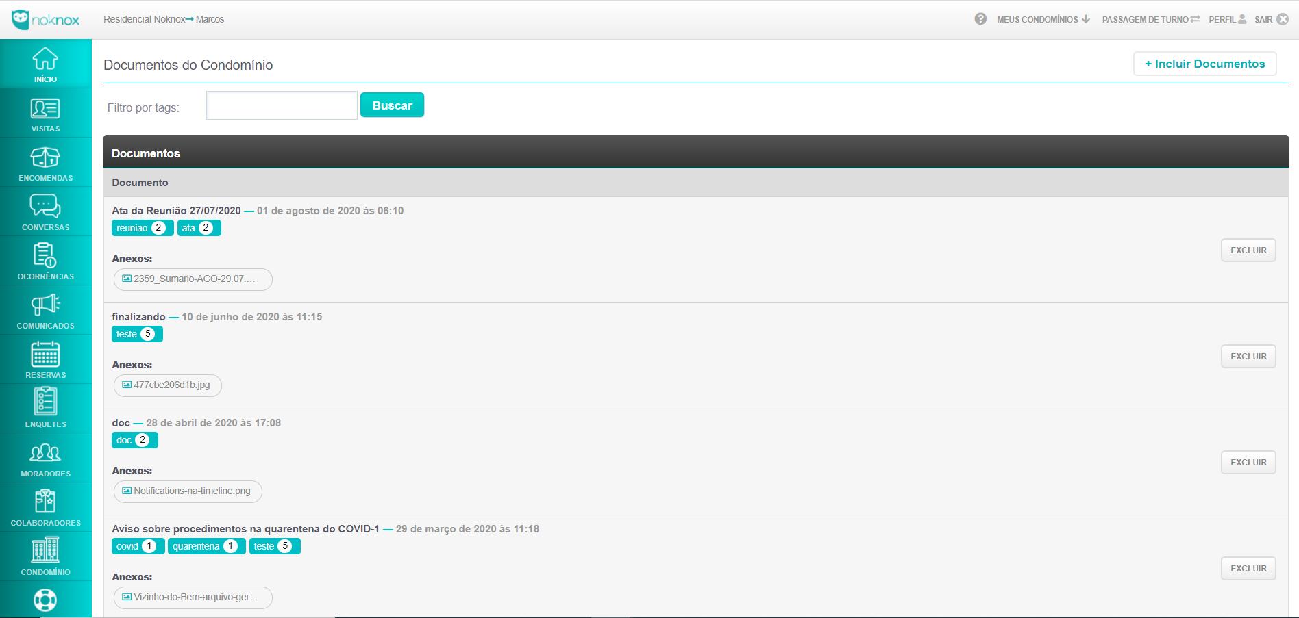 Plataforma para Condomínio Noknox - Função Documentos