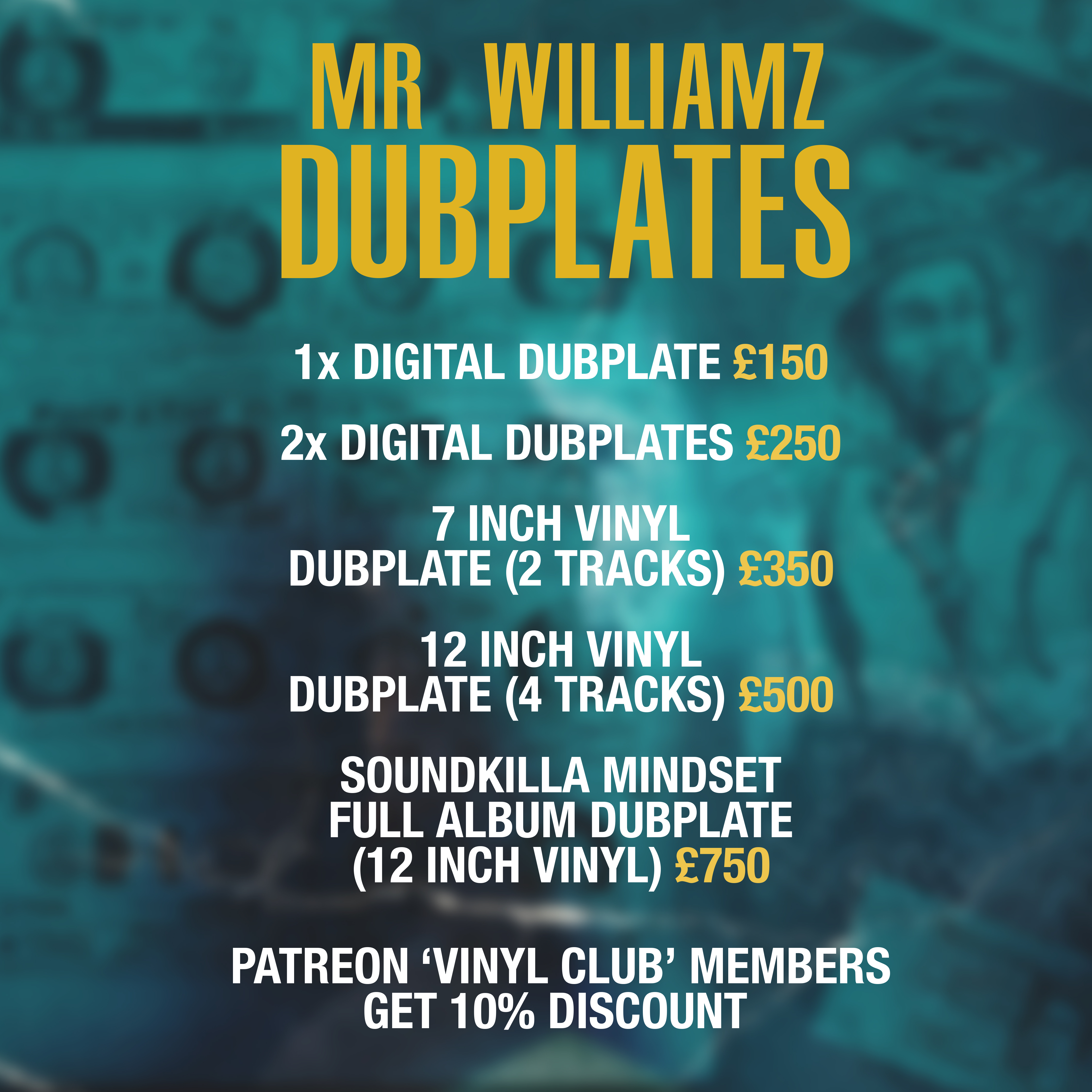 Dubplate price list