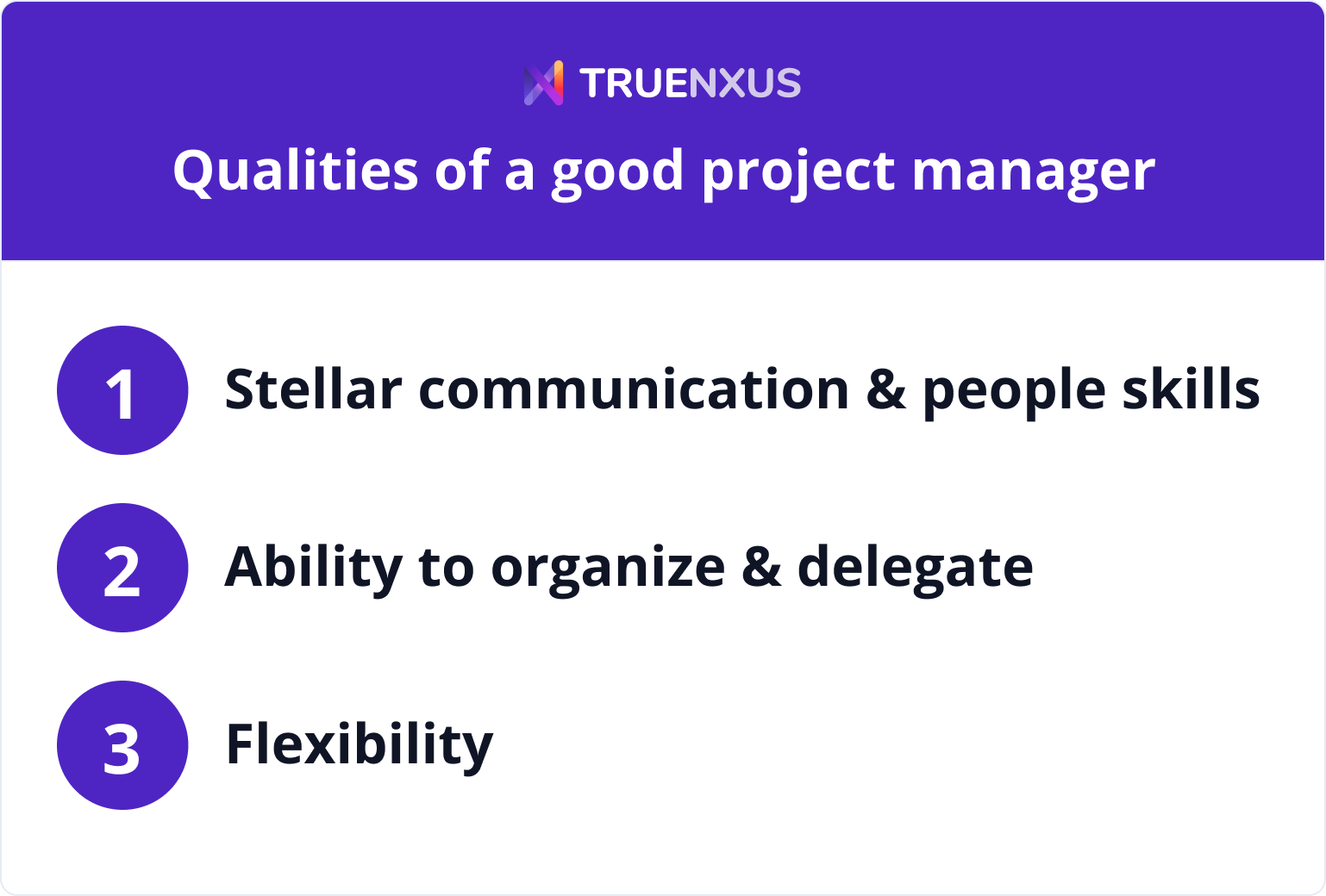 Qualities of a good project manager infographic