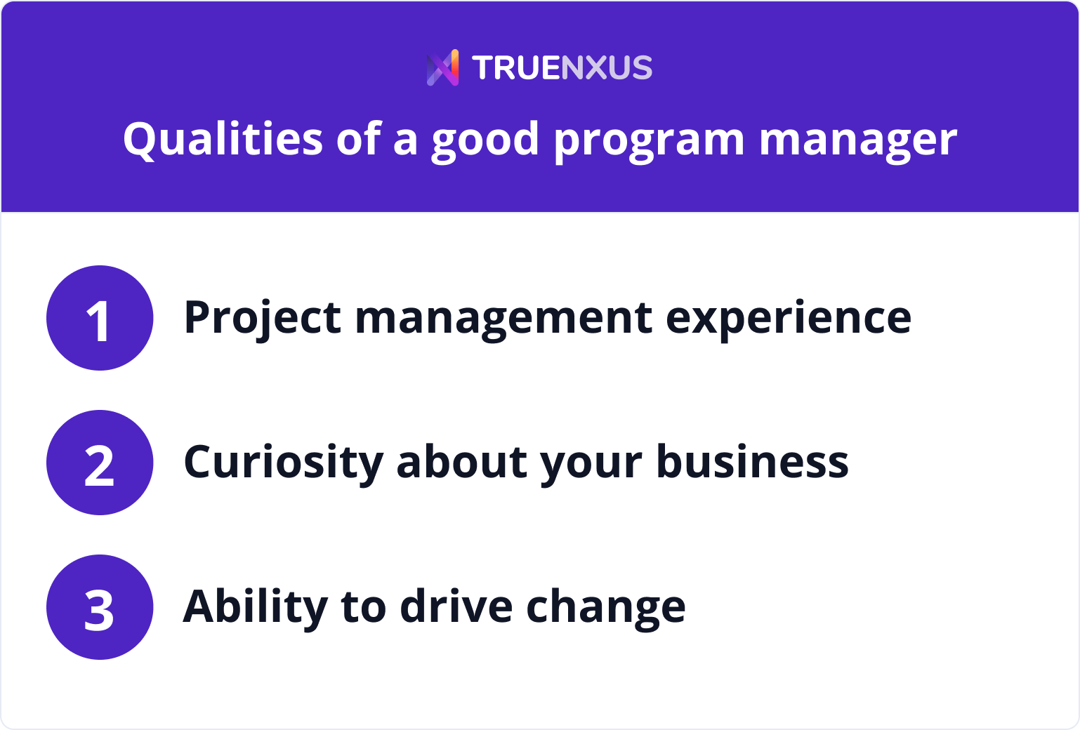 Qualities of a good program manager infographic