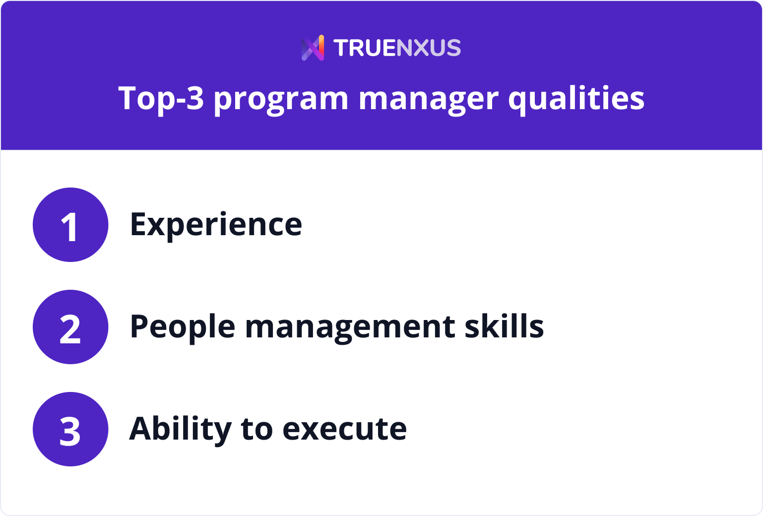 Top-3 program manager qualities infographic