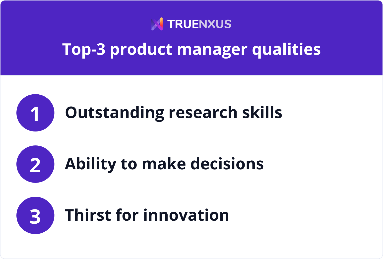 Top-3 product manager qualities infographic