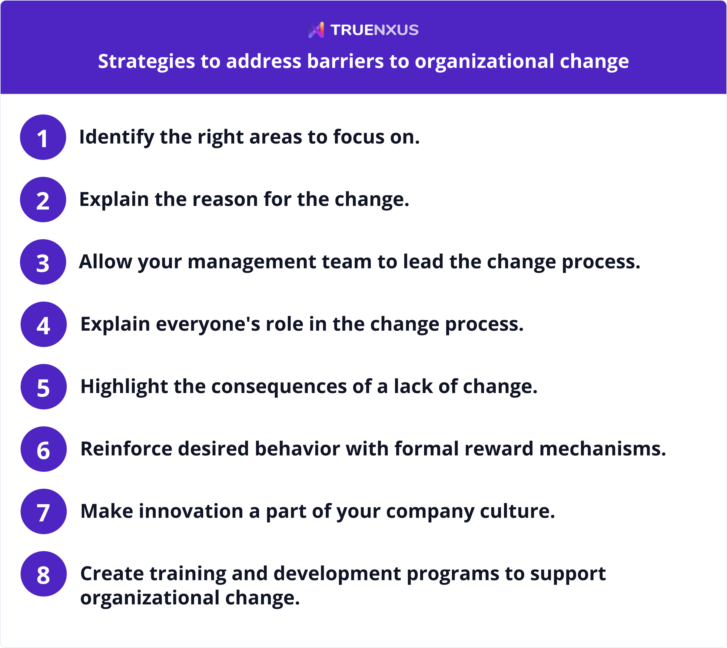 Strategies to address barriers to organizational change infographic
