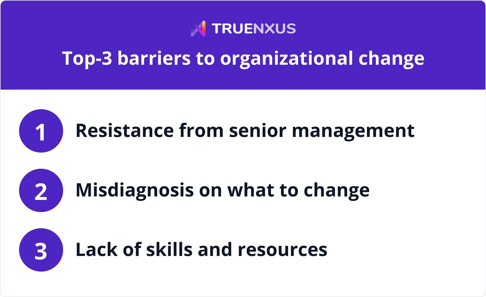 Top-3 barriers to organizational change infographic