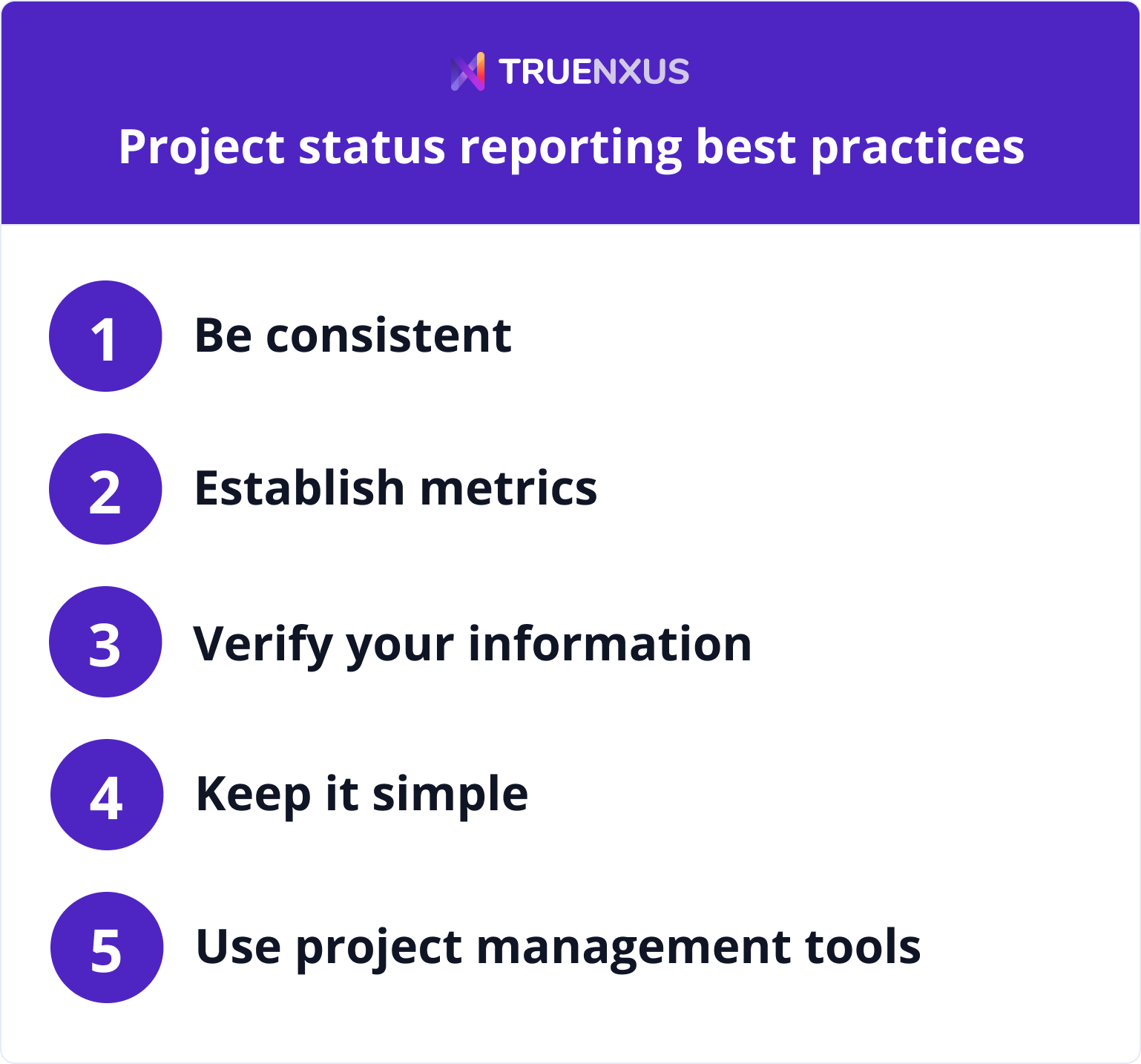 Project status reporting best practices infographic