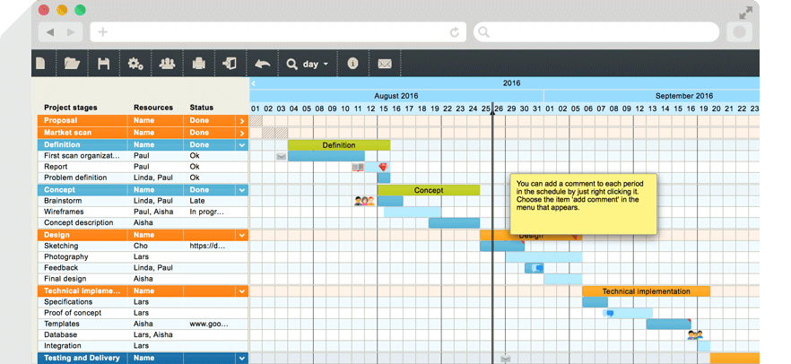 Tom's planner Gantt chart software