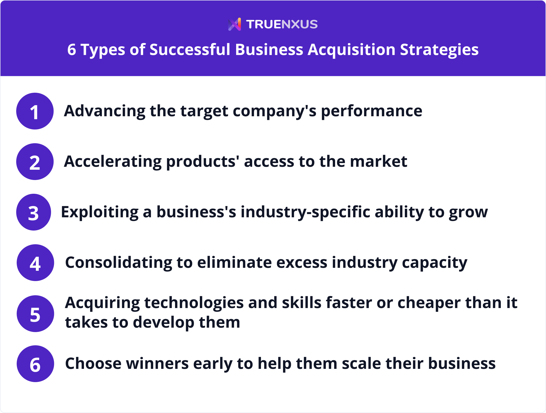 Six types of successful business acquisition strategies infographic