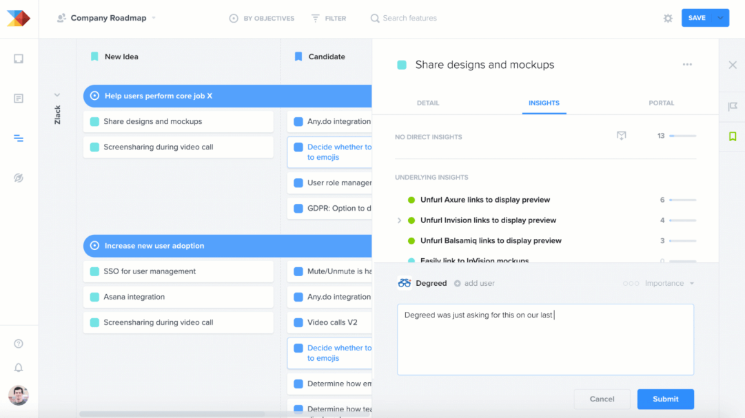Productboard product roadmap