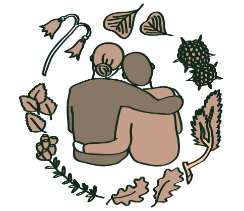 Two people hug each other in grief, surrounded by a circle of native plant species.