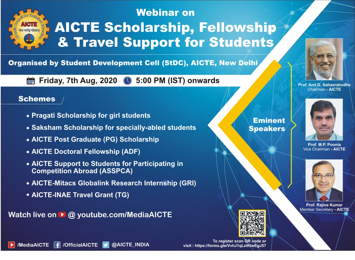 Webinar on AICTE SCHOLARSHIP, FELLOWSHIP and TRAVEL SUPPORT for STUDENTS