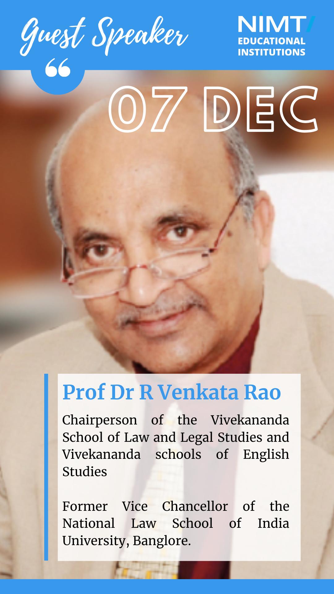 Expert Talk: Prof Dr R Venkat Rao