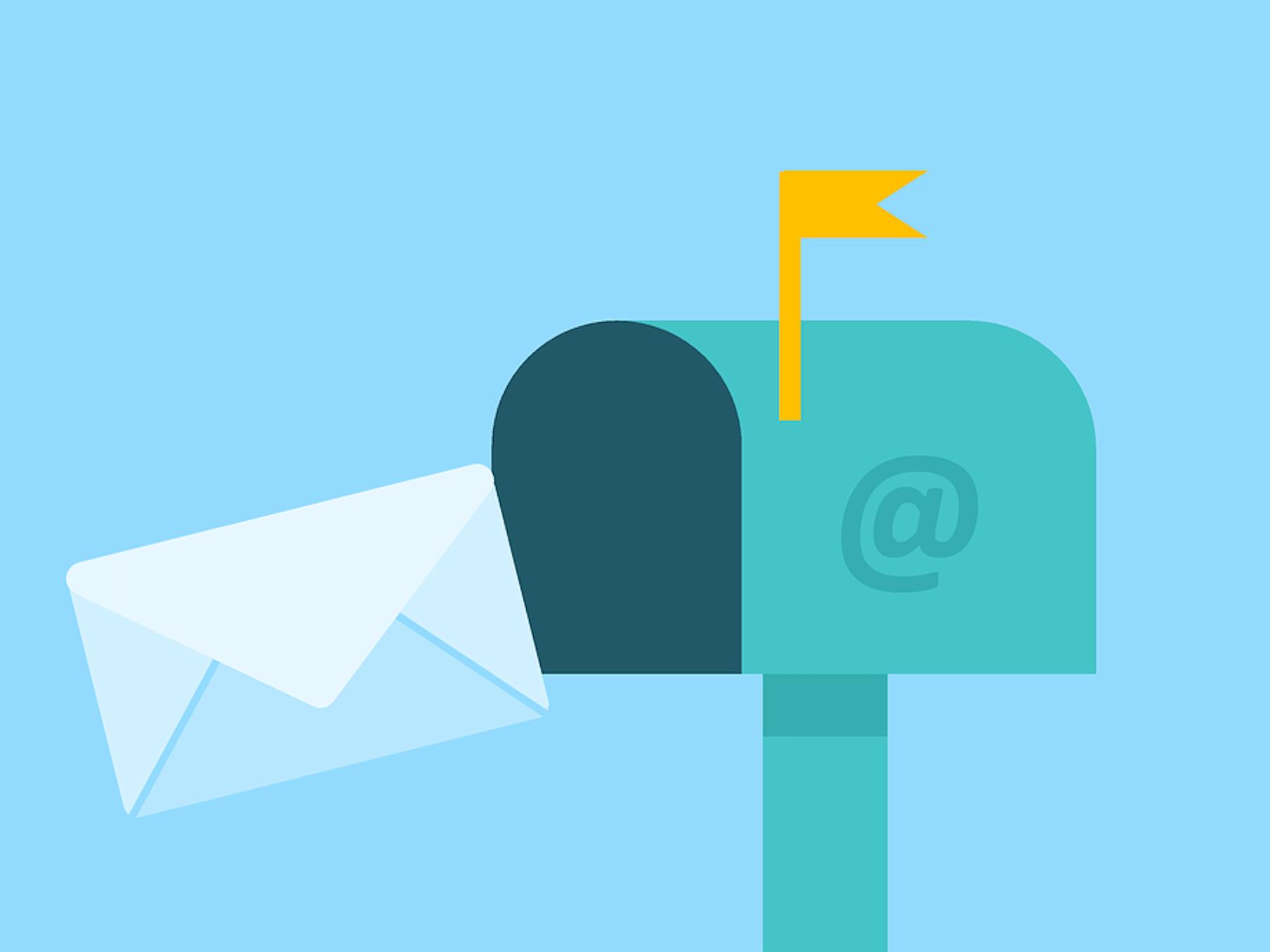 Postbox mit eingehendem Brief