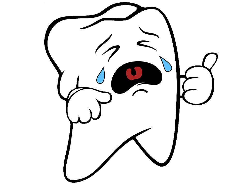 Weinender Zahn mit Karies