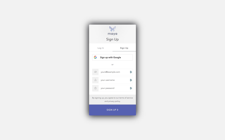 Sign up screen screenshot