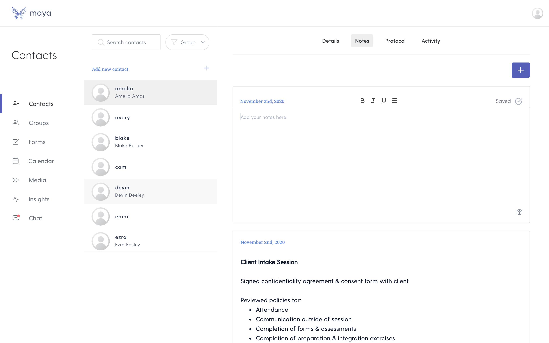 Write to contact screen