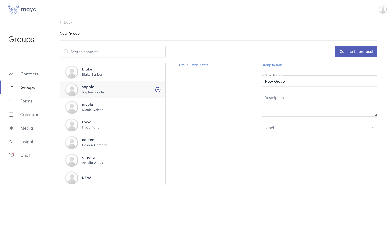 Create new group screen