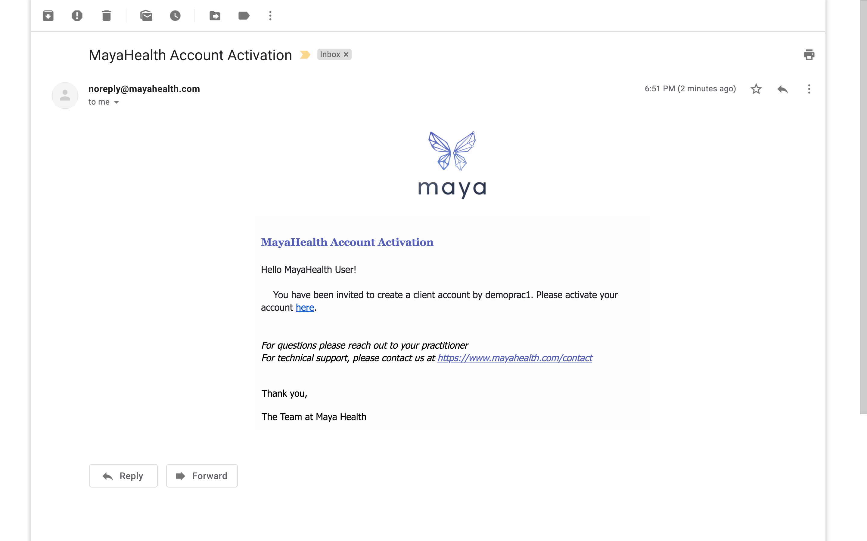 Maya account activation email