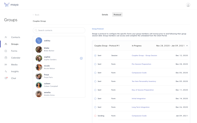 Protocols screen