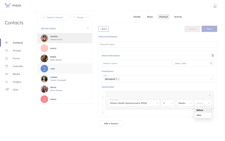 Protocol screen