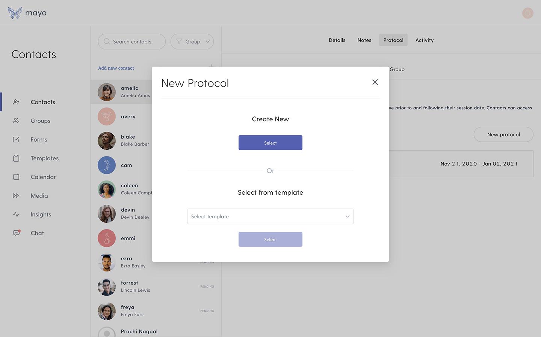 Create new protocol screen