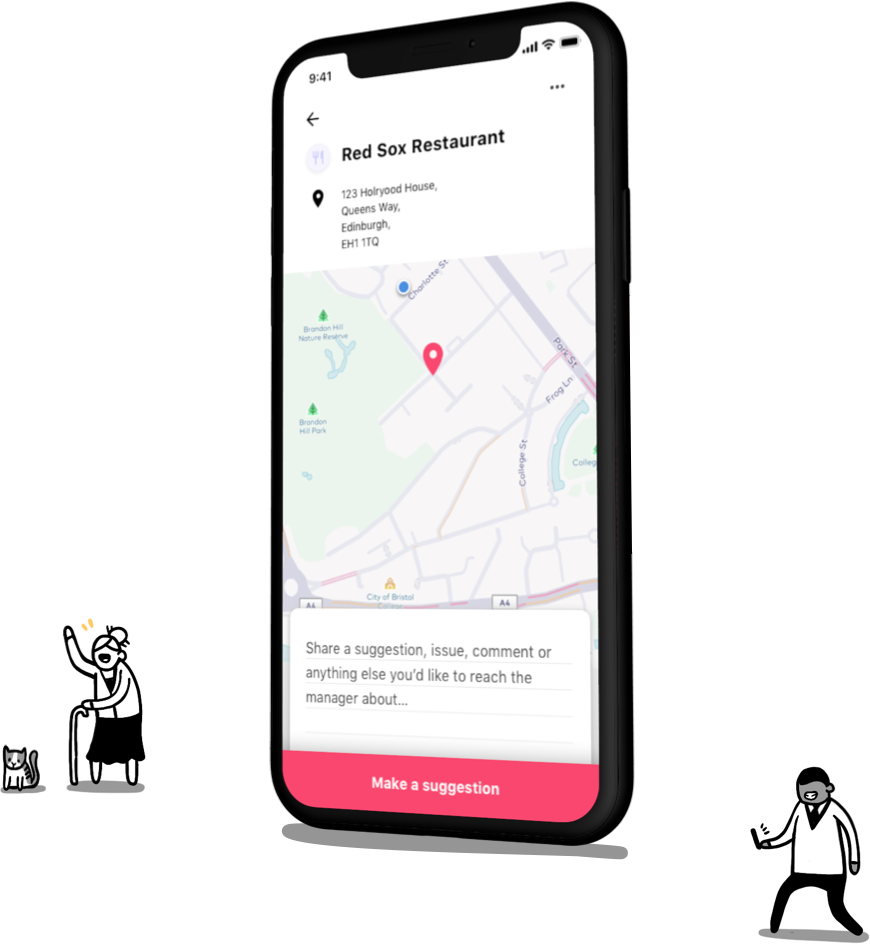 A phone showing a business location