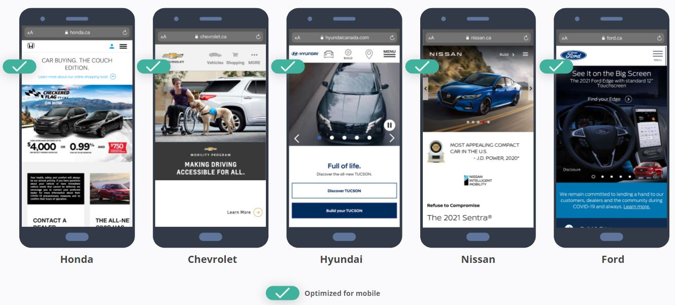 Car Brand Websites - Optimized Mobile View