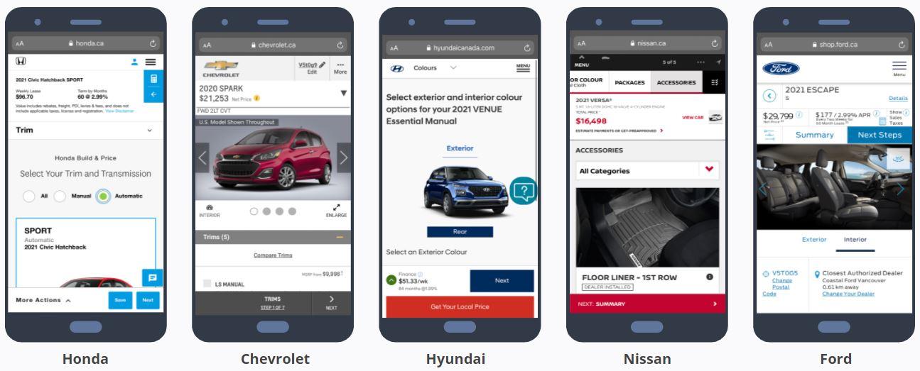 Car Brand Websites - Car Builds Complex User Experience