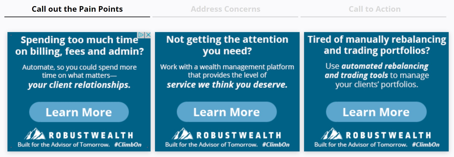 RobustWealth - Display Ads Call Out Financial Advisors Pain Points