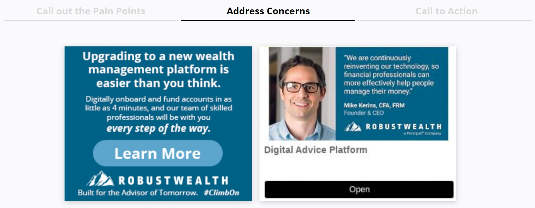 RobustWealth - Display Ads Tries to preempt potential objectives