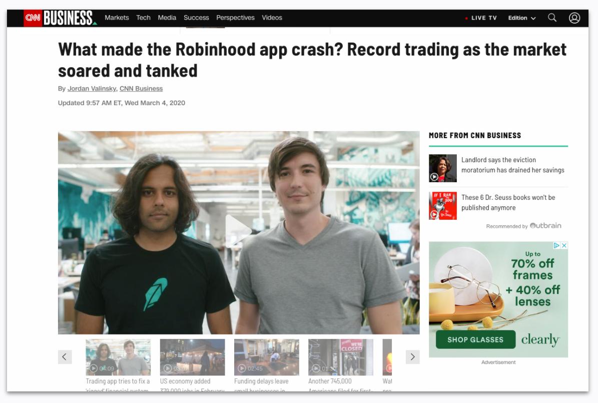 Robinhood app crashed - March 2020