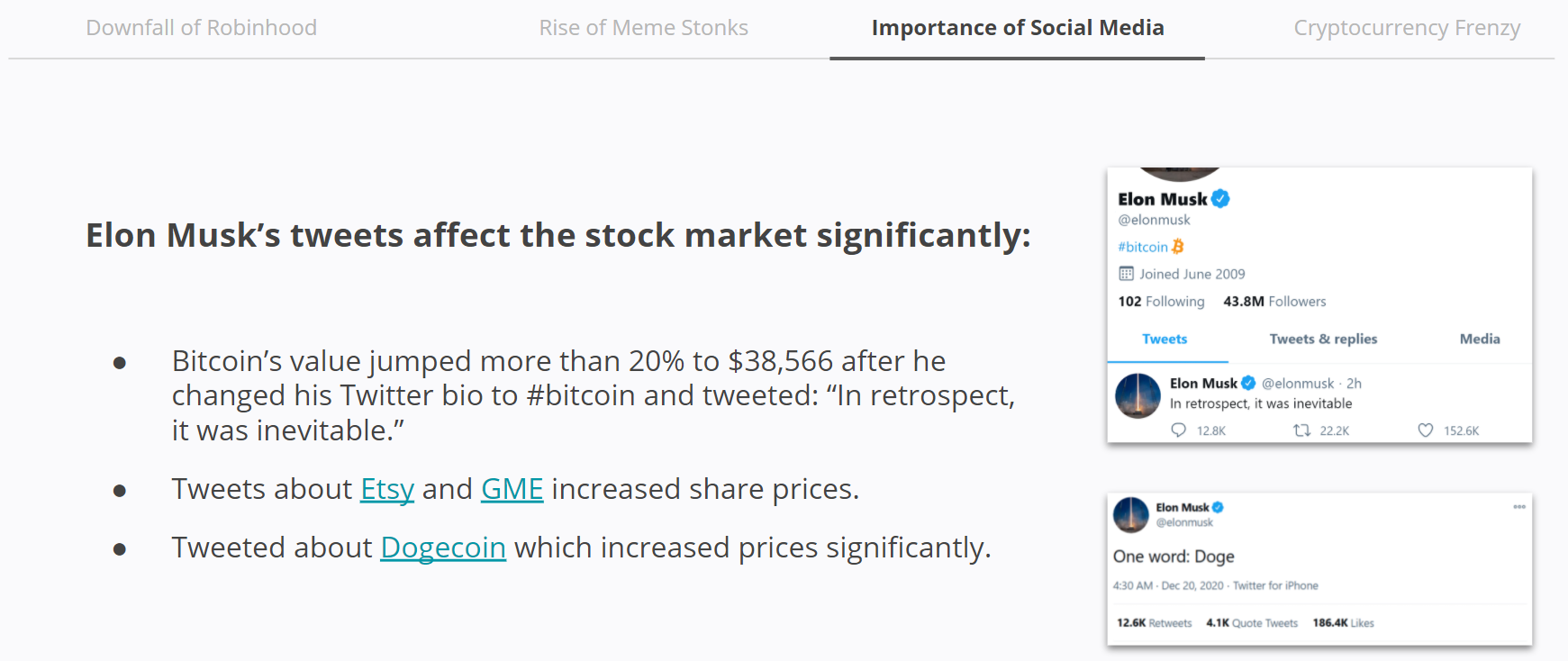 Meme Stonks - Elon Musk tweets affect the stock market significantly