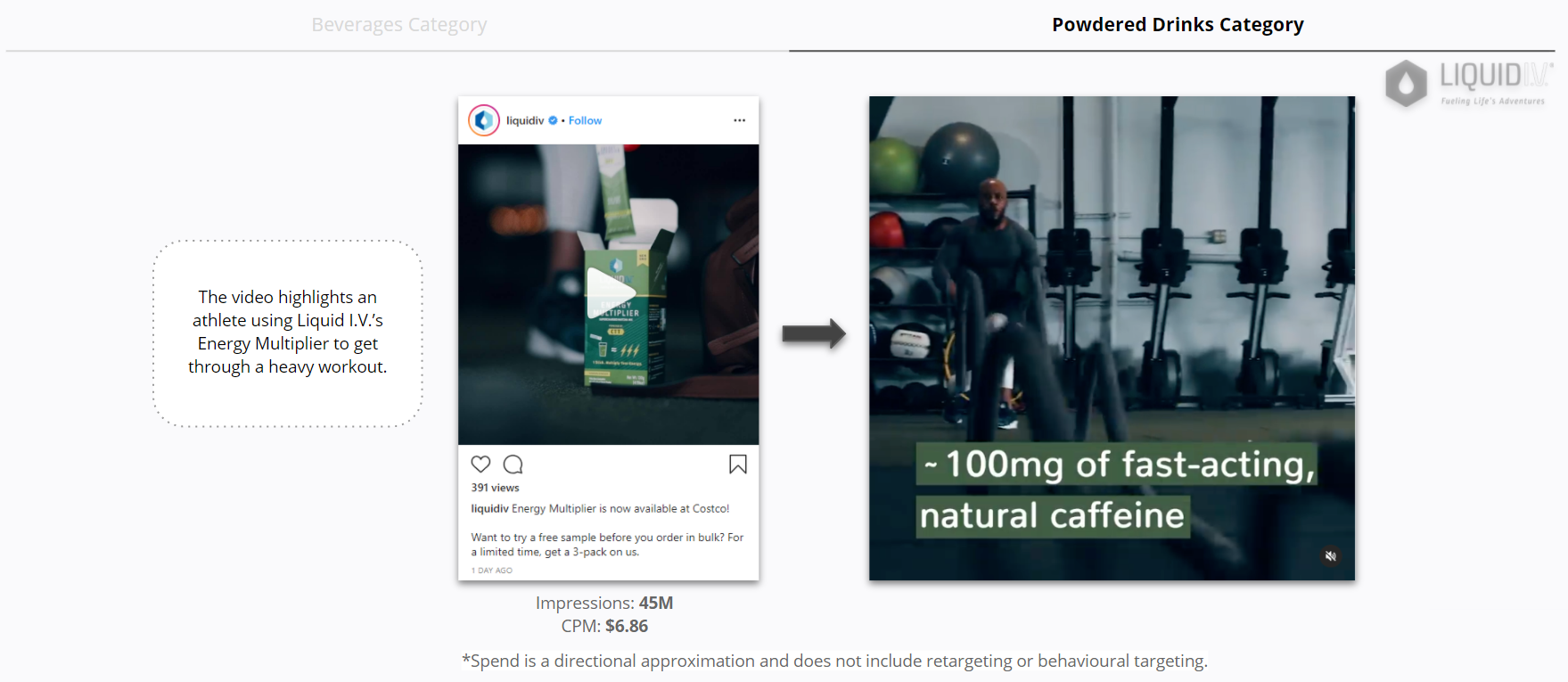 The brand also promoted the campaign on Instagram, but rather than using product stills, they ran a video ad that targeted a male, fitness-inclined audience.