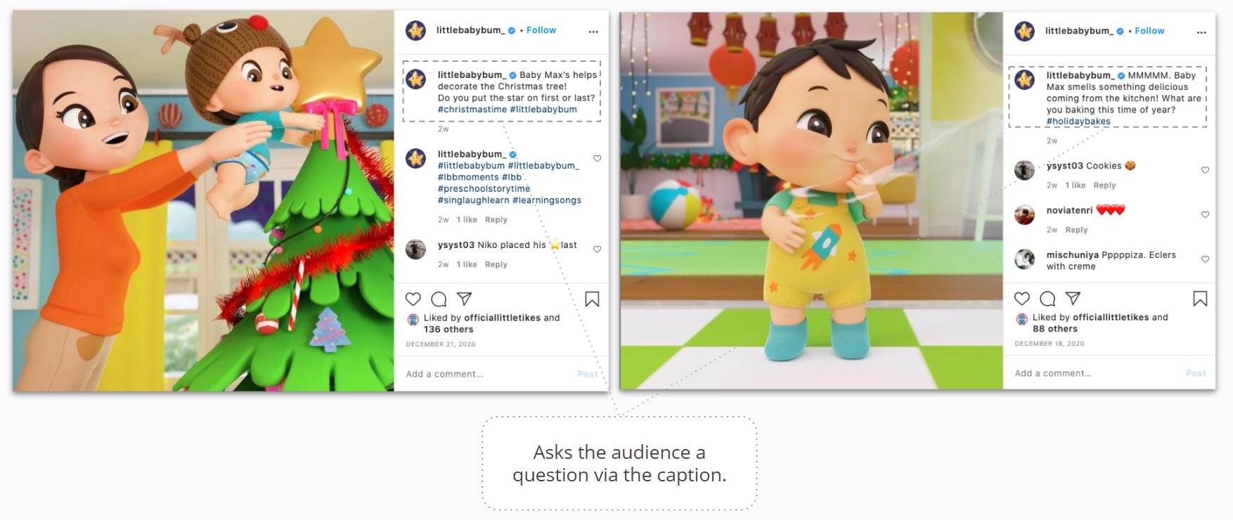 Little Baby Bum - Instagram - Asks the audience a question via the caption
