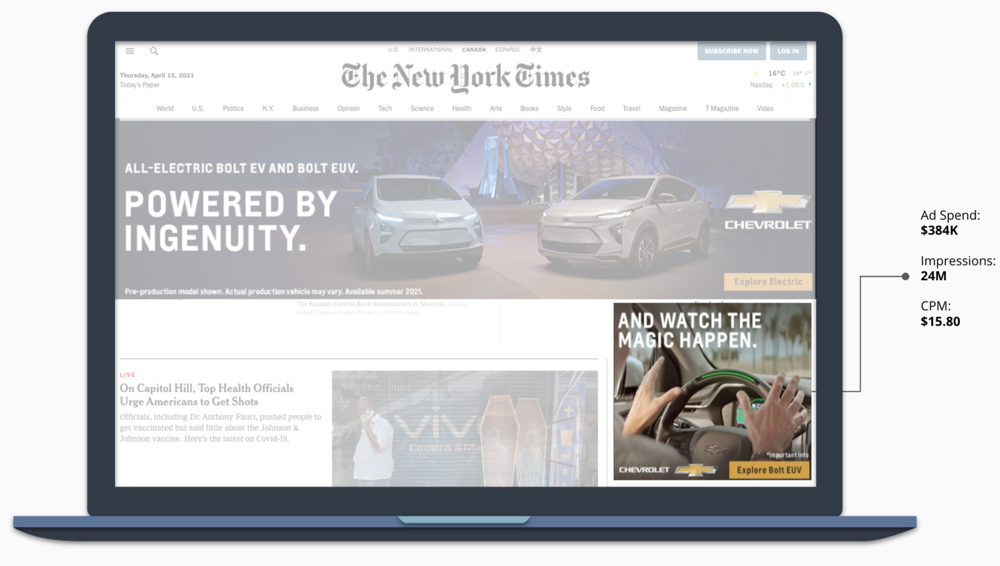 How Chevrolet Partnered with Disney –Chevrolet's Ad in the New York Time –The ad text says And watch the magic happen