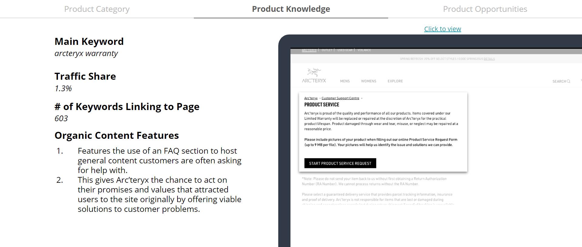 Arcteryx - FAQ section - Product Knowledge