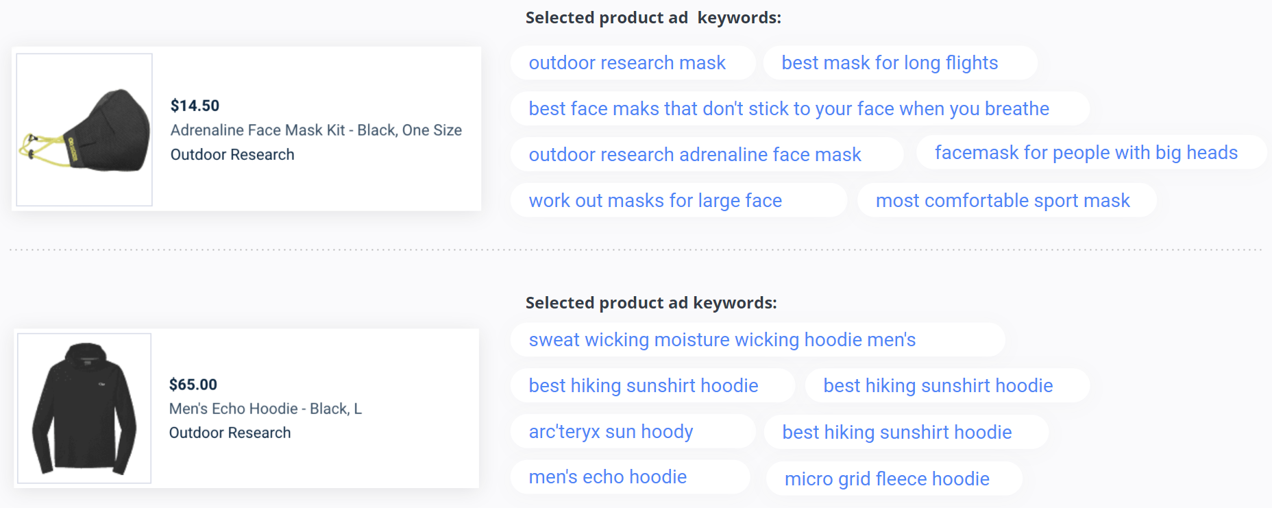 Outdoor Research - Product Ad Keywords