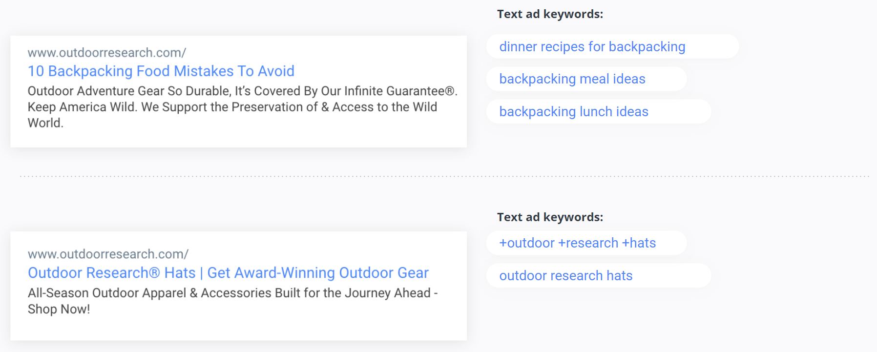 Outdoor Research - Text Ads
