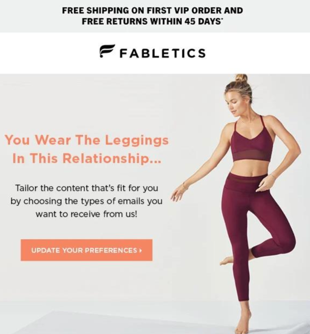 Fabletics - Tailor Email Subscriptions