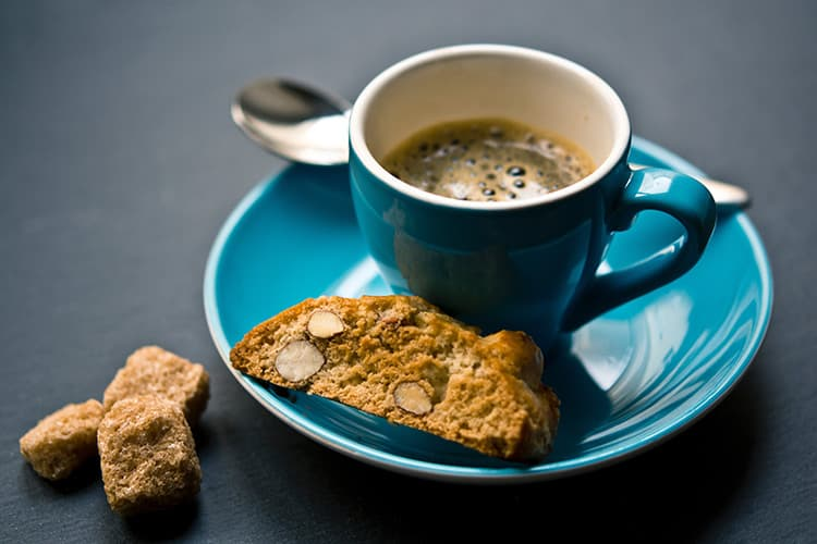 office morning teas – biscotti with hot cup of coffee