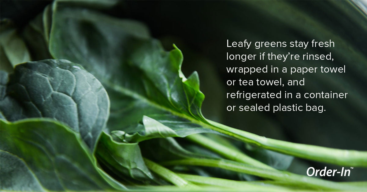 reduce food waste - how to store leafy greens