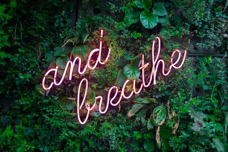 mindfulness in the office tips - breathe sign
