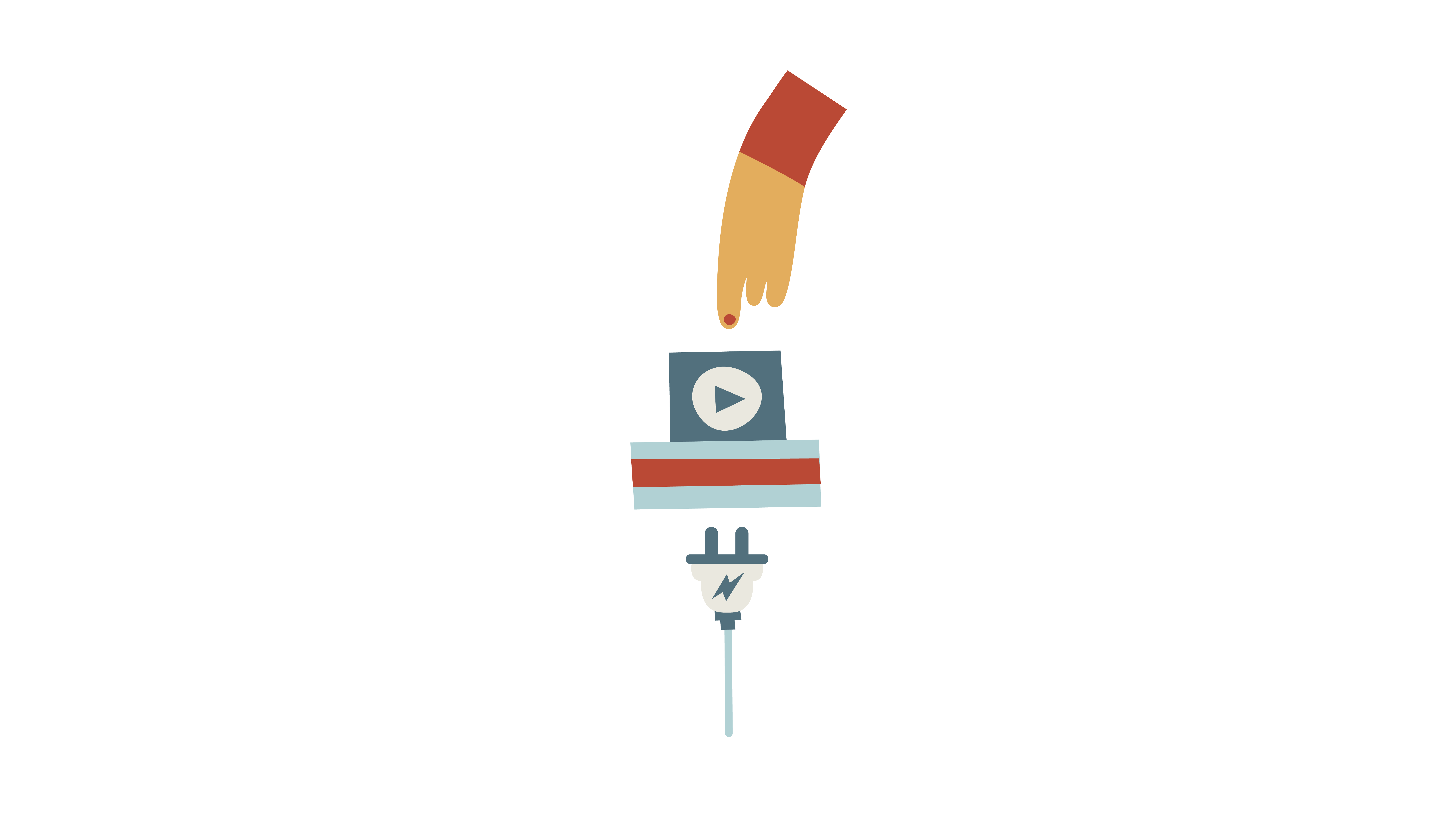 Illustration of a finger pushing a play button