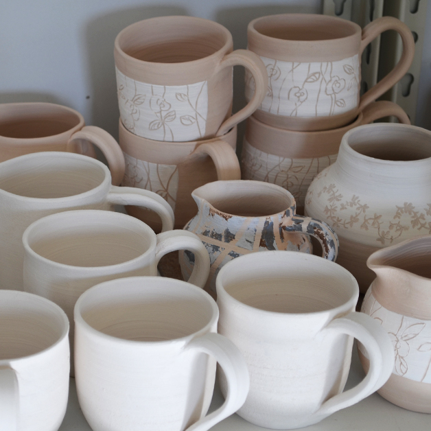 Mugs made at Woodside Pottery
