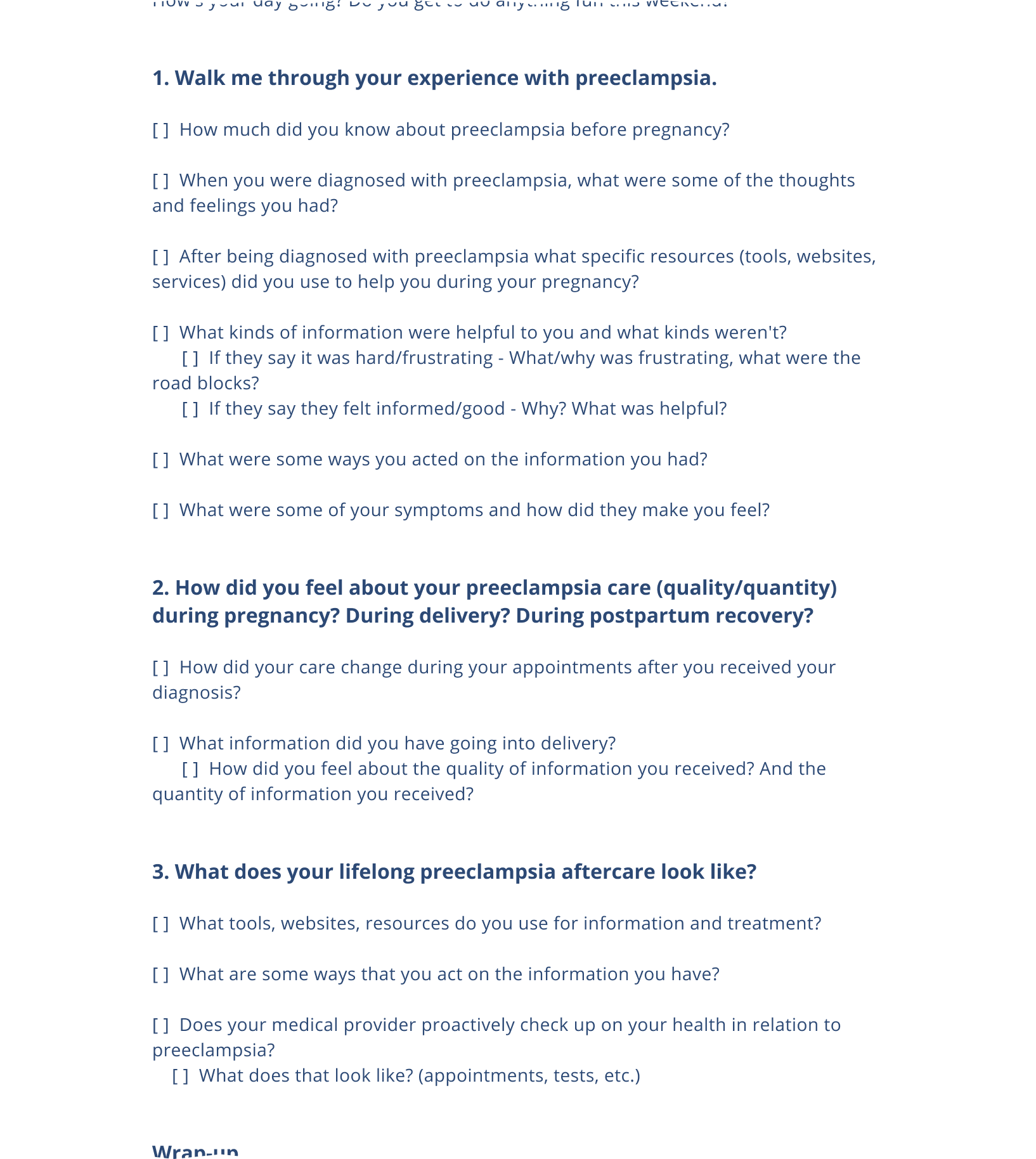 Partial image of a document with typed interview questions.