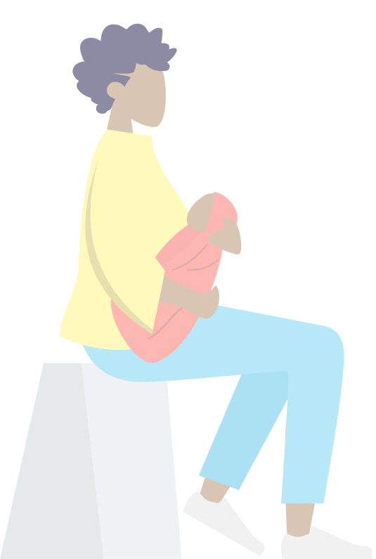 A illustration of a mother sitting and holding her baby.