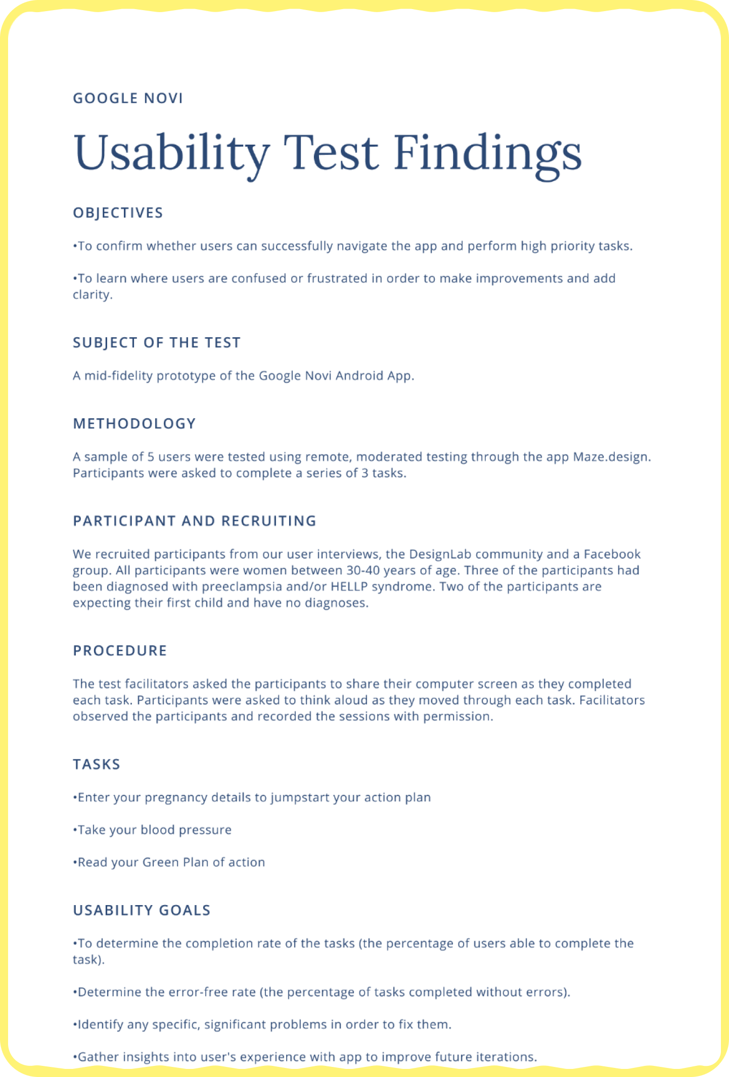 A partial image of a Usability Test Findings document.