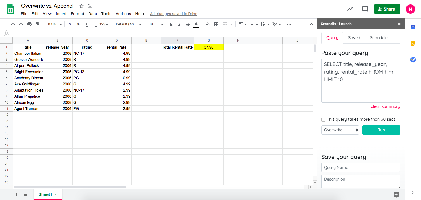 Castodia smart overwrite feature on Google Sheets