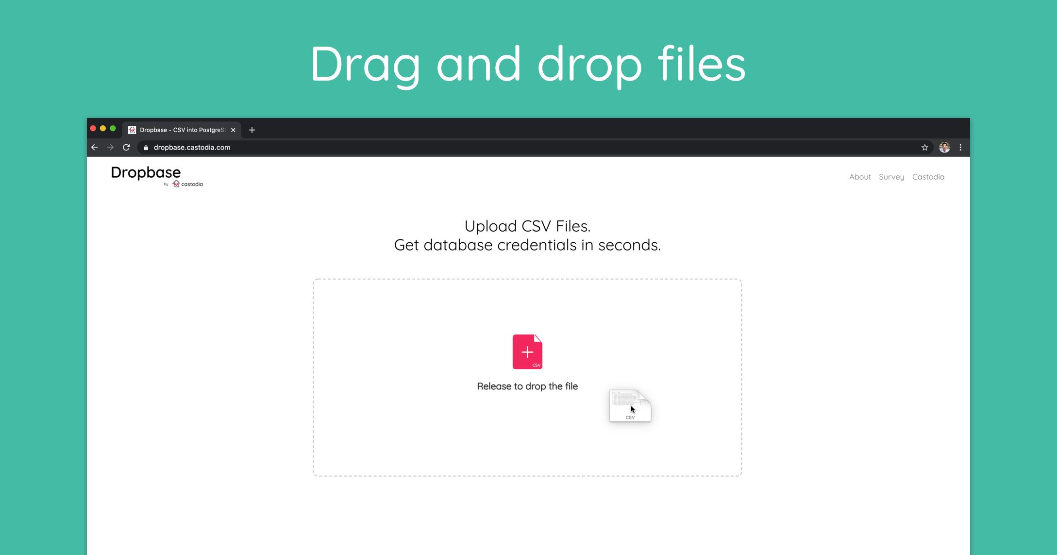 Drag and drop CSV file