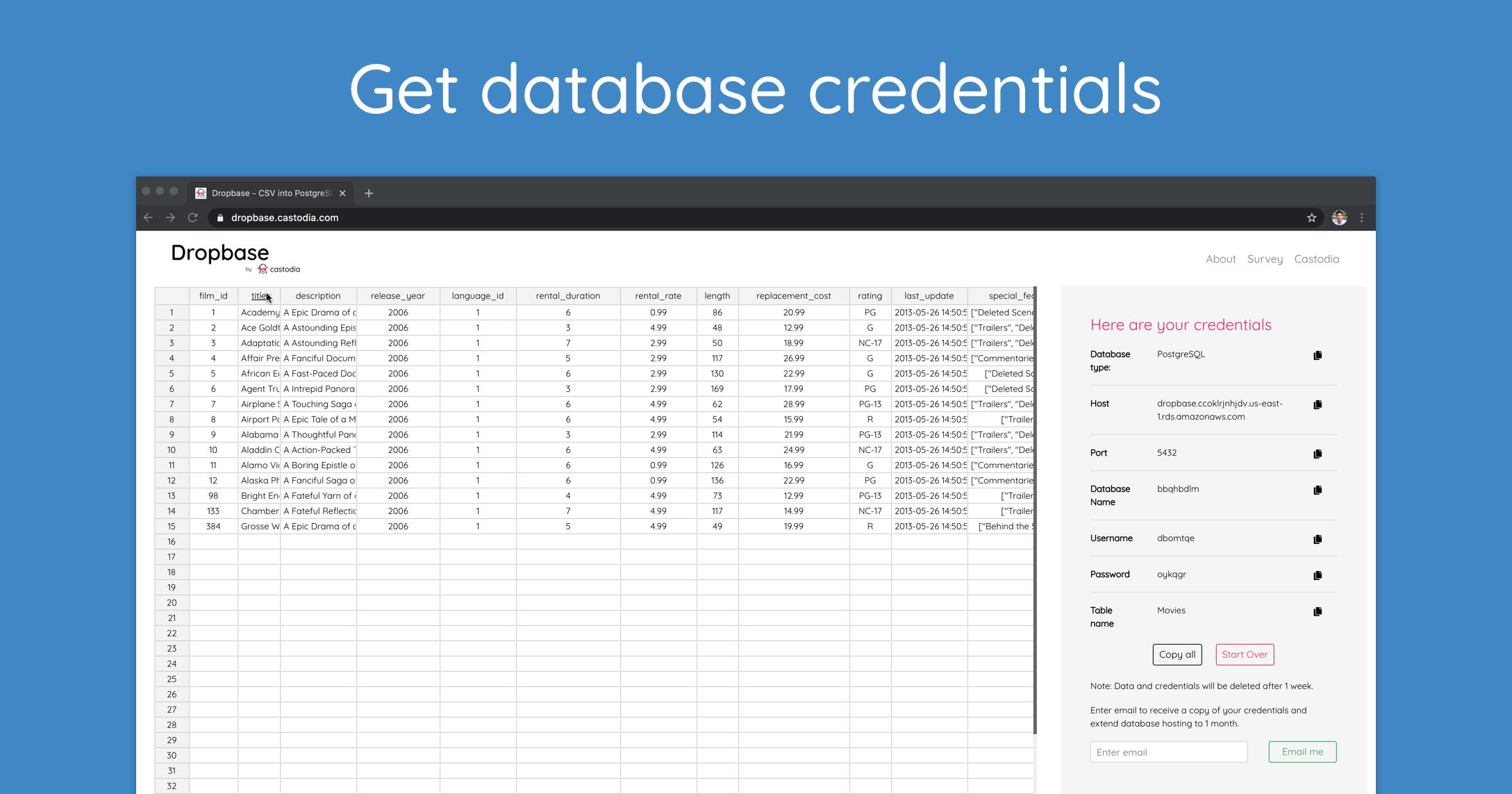 Get database credentials
