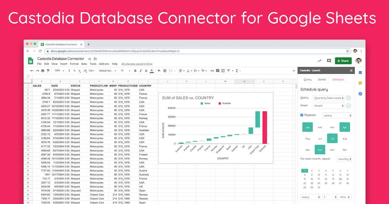 Castodia Database Connector for Google Sheets